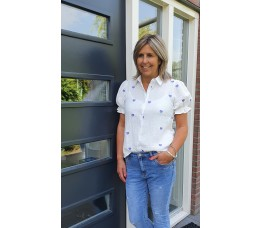 BLOUSE HARTJE wit/paars